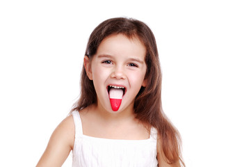little girl with polish flag on her tongue