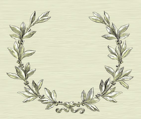Laurel wreath with copy space at color engraving style.