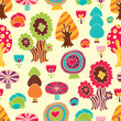 Cute forest. Vector seamless pattern.