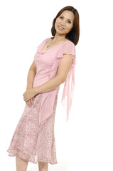 Isolated portrait shot of asian woman posing