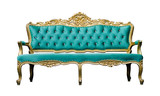 Vintage luxury turquoise sofa Armchair isolated on white
