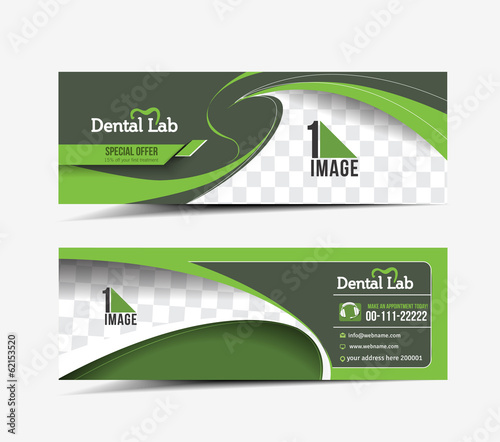 Dental Care Web Banner & Header Layout Template.