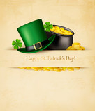 Saint Patrick's Day background with clover leaves, green hat and