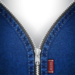 Denim background with open zipper