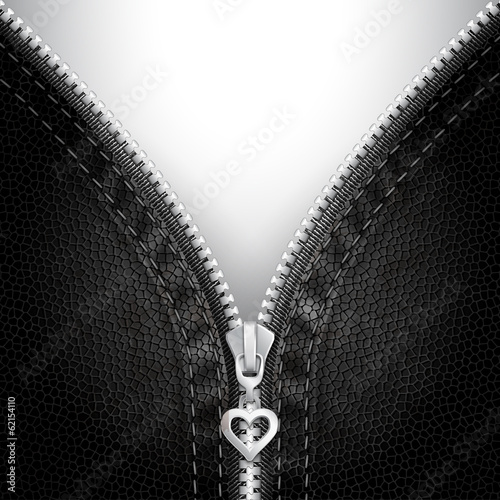 Leather  background with open zipper