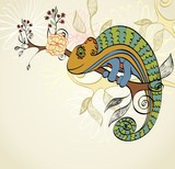 Hand drawn illustration with cartoon Chameleon