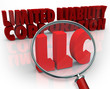 LLC Magnifying Glass Limited Liability Corporation Red Words