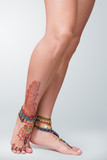 Mehendi painted on legs