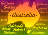 australia map silhouette with cities names
