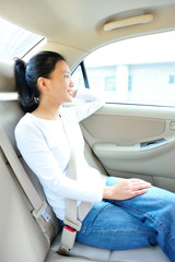 woman passenger buckle up seablet
