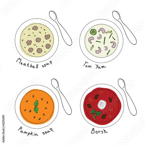 Different soups in white bowl. Vector illustration