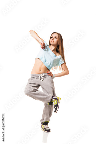 cool looking two dancing woman on white background