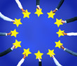 Business Hands Holding Stars Like European Union Flag