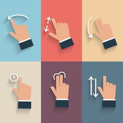 Gesture icons for touch devices.