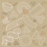 Pasta collection drawings vector set