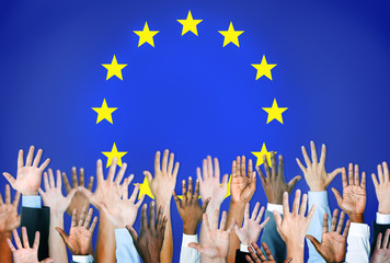 Group of Multiethnic World People's Hands with European Flag