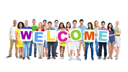 Multiethnic Group of World People Holding Word Welcome