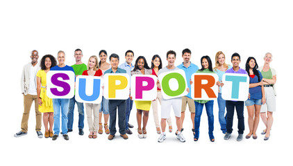 "Group of Multiethnic World People Holding ""SUPPORT"""