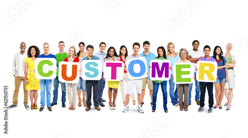 "Group of Multiethnic World People Holding ""CUSTOMER"""