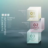 abstract transparent cube infographics