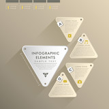 flat style abstract triangle label infographics