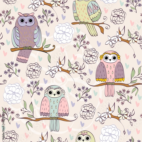 illustration with owl sitting on the branches - 62157176