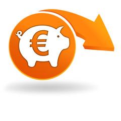 banque épargne sur bouton orange