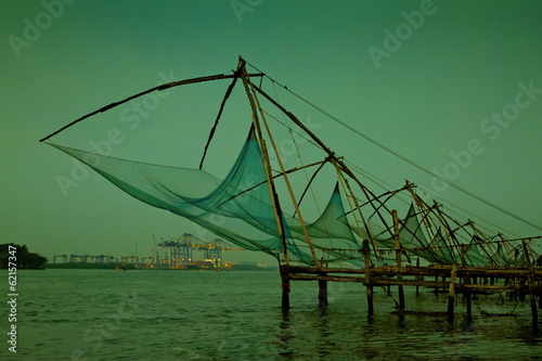 Chinese fishing nets at sunset in Cochin, Kerala, India
