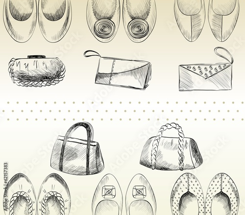 fashion  handbags and shoes. Hand drawn illustration. - 62157383