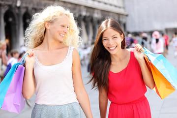 Girls shopping - women shoppers with bags, Venice