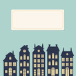 Holland houses silhouettes. Dutch cityscape card