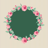 Vector floral background. Elegant wreath made of rose flowers