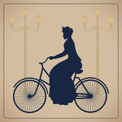 Woman riding bicycle. Vintage vector illustration