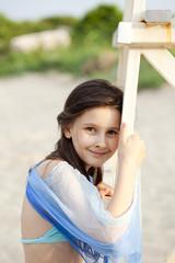 Smiley girl on the beach