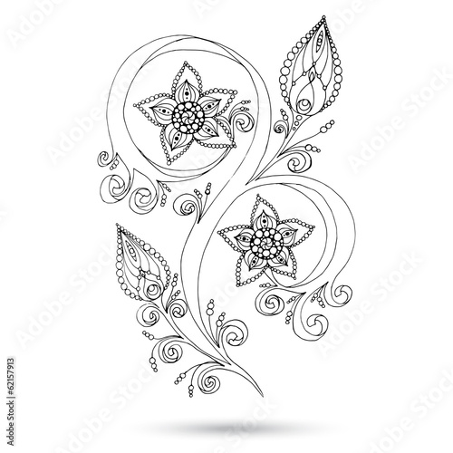 Henna Paisley Mehndi Doodles Design Element. © juliasnegi