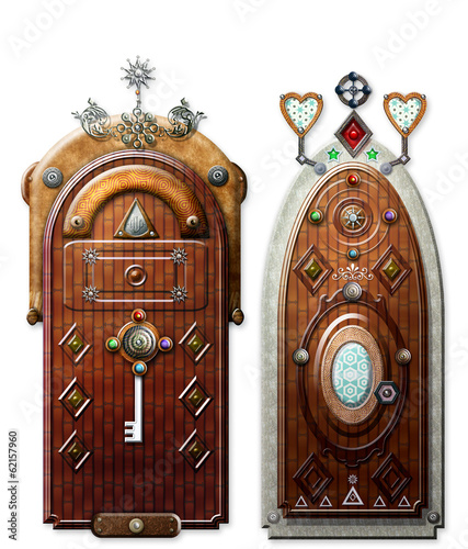 Old fashioned doors of fairytales
