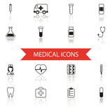 Simple Medical Icons and Symbols Set Isolated with reflection