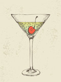 Hand drawn illustration of iced tropical cocktail.