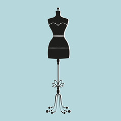 vector vintage tailor's mannequin with size measurements