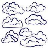 clouds collection sketch cartoon vector illustration