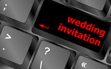 Wedding invitation word button on keyboard key