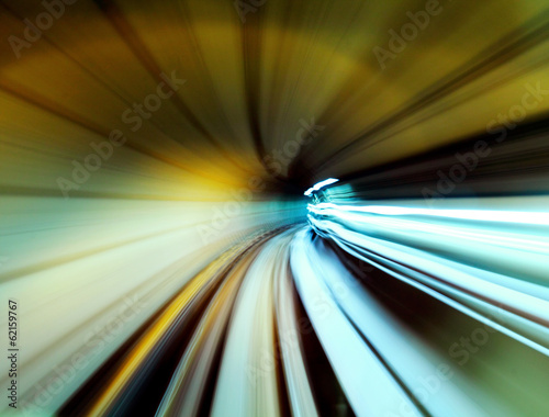 Train moving fast in tunnel