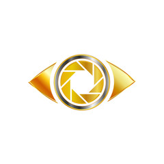 Photography Aperture in a golden eye- Logo for photographer