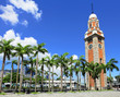 Clock tower in Hong Kong with clear blue sky