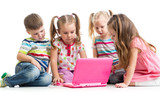 group of children friends at the laptop