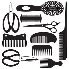 haircutting tool flat design icons