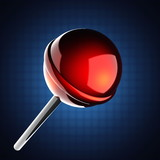 Red lollipop on blue background