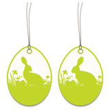 2 Hangtags Easter Bunny Meadow Green