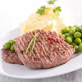 beefsteak, mashed potatoes and pea