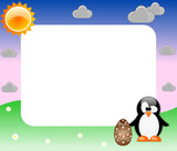 Easter frame with penguin and egg for kids